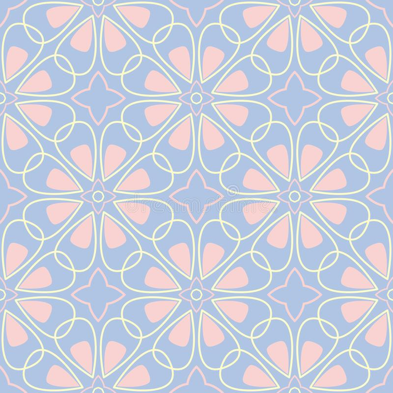 Geometric seamless pattern. Pale blue background with beige and pink elements stock illustration