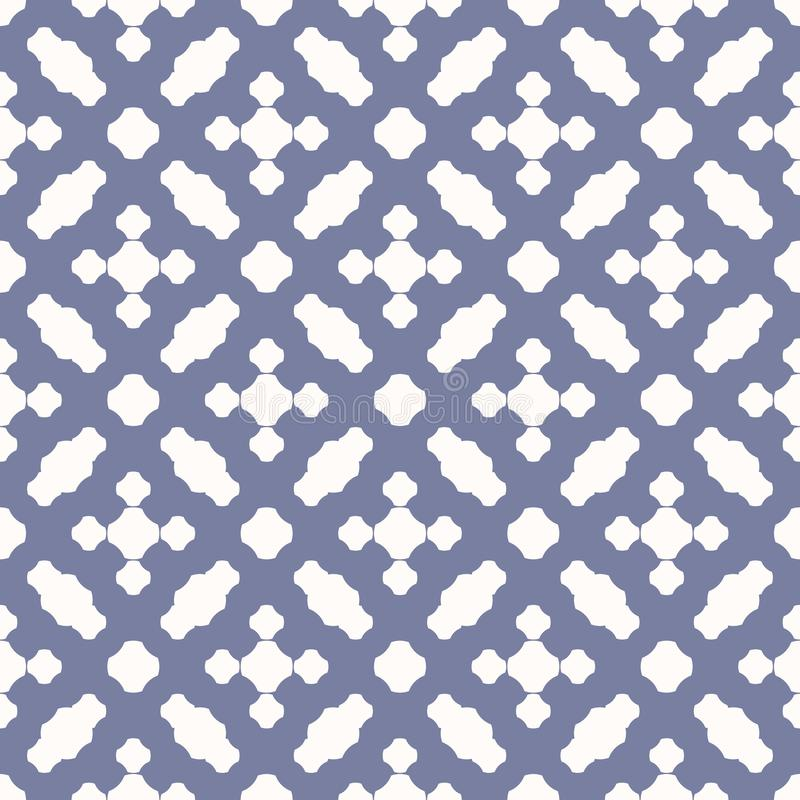 Geometric seamless pattern with rounded crosses, grid. Vintage background. Vector seamless pattern. Blue serenity and white colors. Vintage abstract geometric royalty free illustration