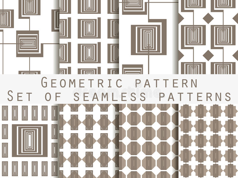 Geometric seamless pattern. Set. The pattern for wallpaper, tiles, fabrics and designs. Vector stock illustration