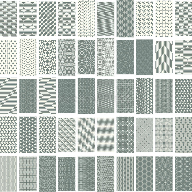 50 geometric seamless pattern set. royalty free illustration