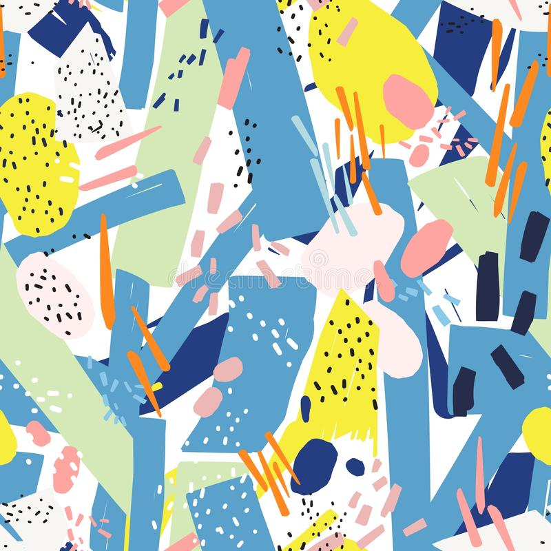 Geometric seamless pattern with vibrant chaotic abstract marks, dots, scribble, blotches. Modern backdrop. Creative. Vector illustration in contemporary art stock illustration