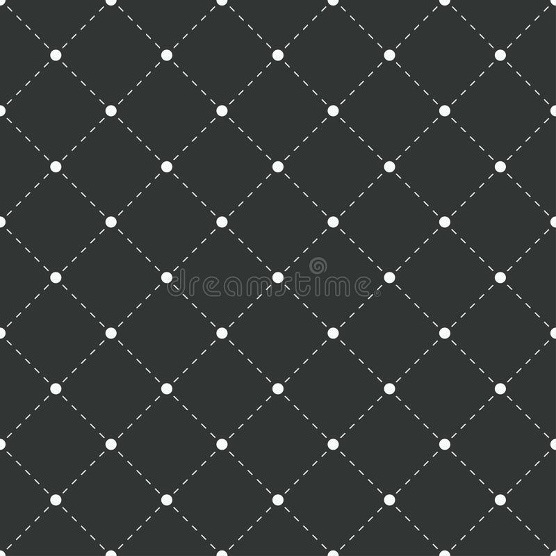 Geometric seamless pattern. White dots with dashed lines on black background. Vector illustration. royalty free illustration