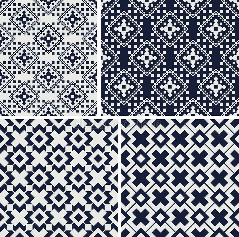 Geometric seamless patterns. Set of monochrome ornaments. Vector illustration vector illustration