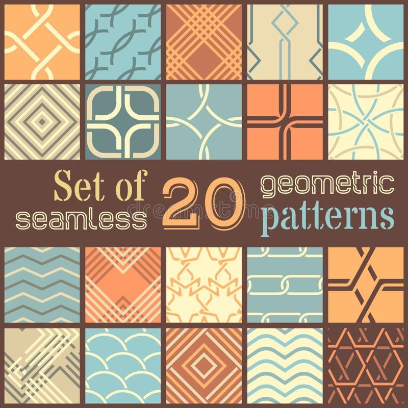 20 geometric seamless patterns set. royalty free illustration