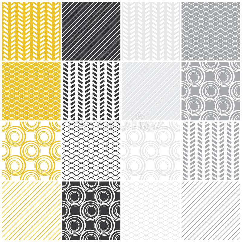 Geometric seamless patterns: swaves,circles, lines stock illustration