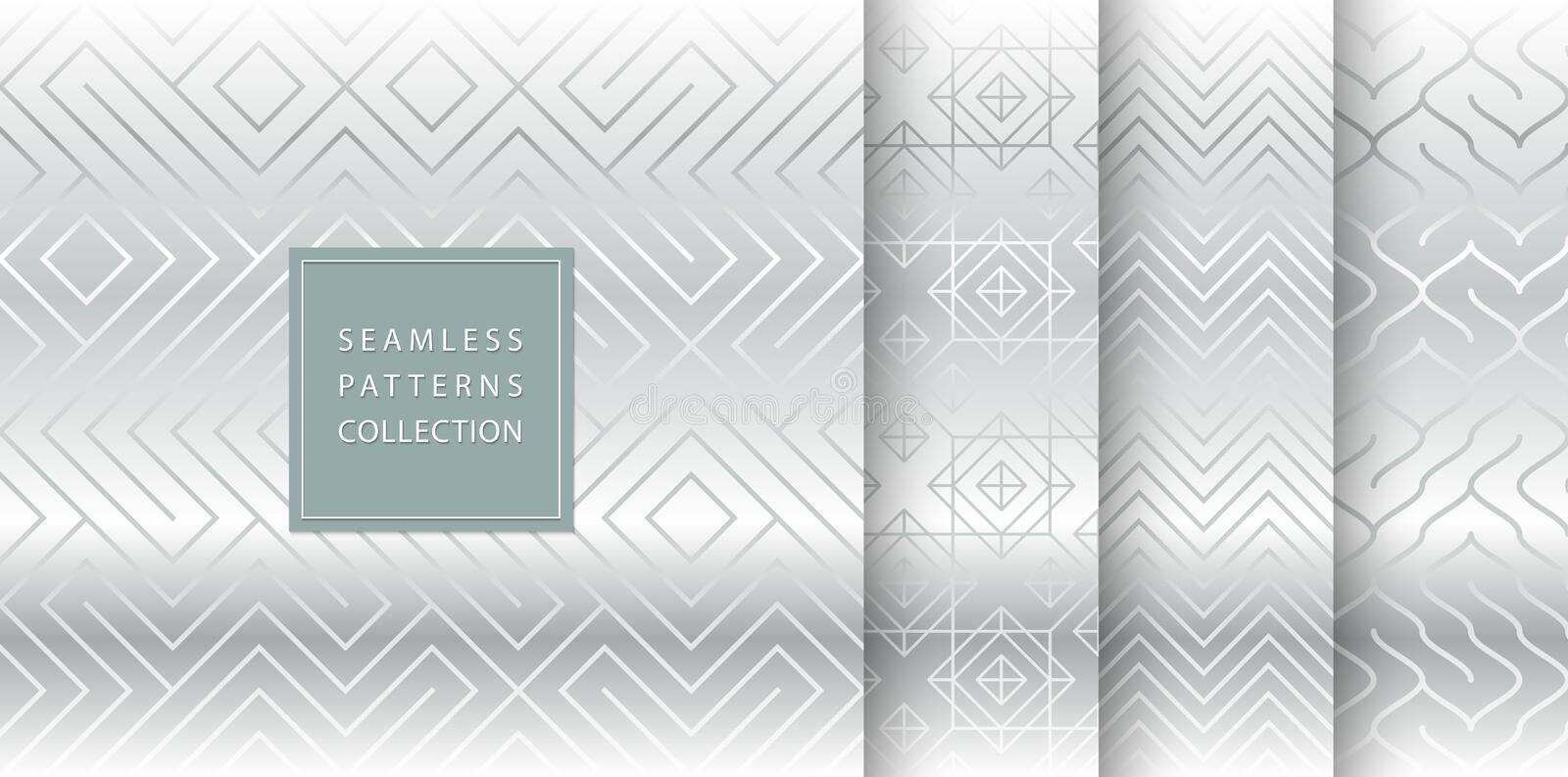 Geometric seamless silver pattern background. Simple vector graphic gray print. Repeating line abstract texture set. Minimalistic vector illustration