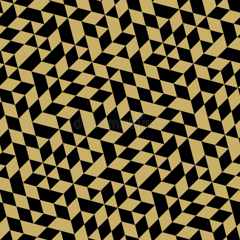 Geometric Seamless Vector Pattern. Geometric vector pattern with black and golden triangles. Seamless abstract background stock illustration