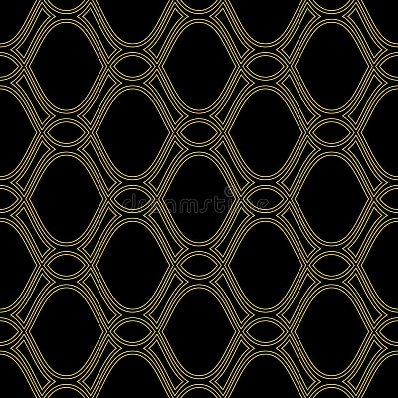 Geometric Seamless Vector Pattern. Seamless vector ornament. Modern geometric pattern with repeating wavy lines. Black and golden pattern royalty free illustration
