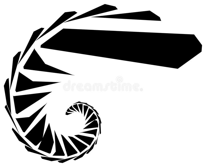 Geometric shape - Angular edgy element on white. Royalty free vector illustration stock illustration