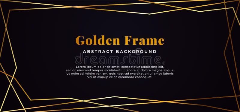 Geometric shape line abstract golden fame on dark black paper background vector illustration. banner template design. Eps 10 vector illustration