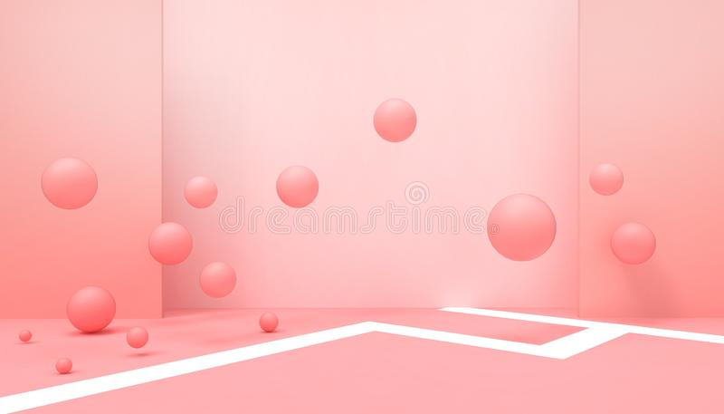 Geometric shapes Abstract  Background celebrations modern Art and  business ideas Inspiration Concept Happy on pastel Rad. Background - 3d rendering stock illustration