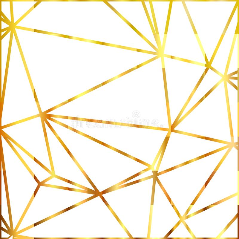 Geometric shapes. Abstract gold outline of polygon background. Gold glitter triangles. Vector illustration. royalty free illustration