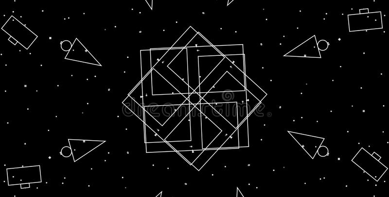 Geometric shapes creative design with black background. vector illustration