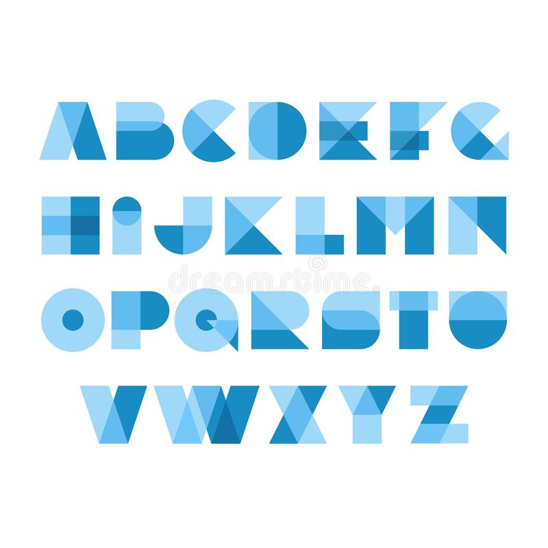 Geometric shapes font alphabet. Overlay transparent letters. royalty free illustration