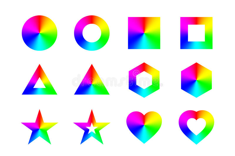 Geometric shapes and frames with conical rainbow gradient, isolated on white background. Vector vector illustration