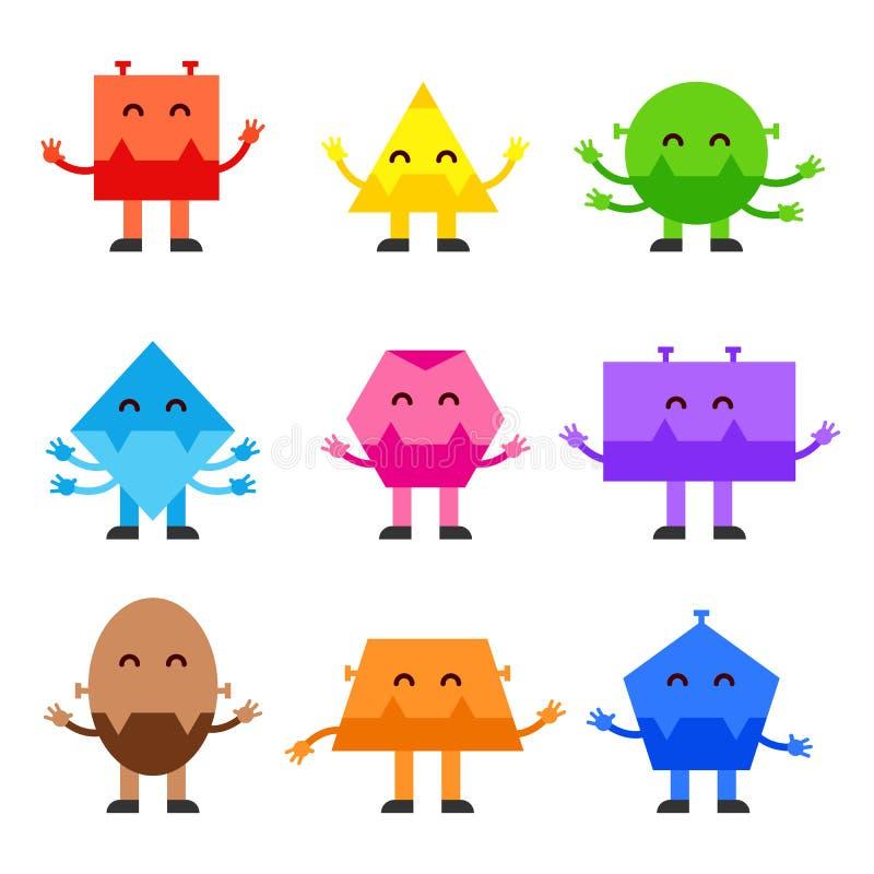 Geometric shapes funny monsters cartoon vector character design for children education games, kindergarten. vector illustration