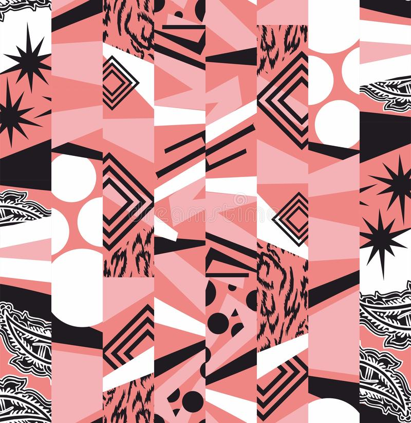 Geometric shapes illustration. Chaotic abstract pattern. Textile design, Fabric digital print. - Vector royalty free illustration
