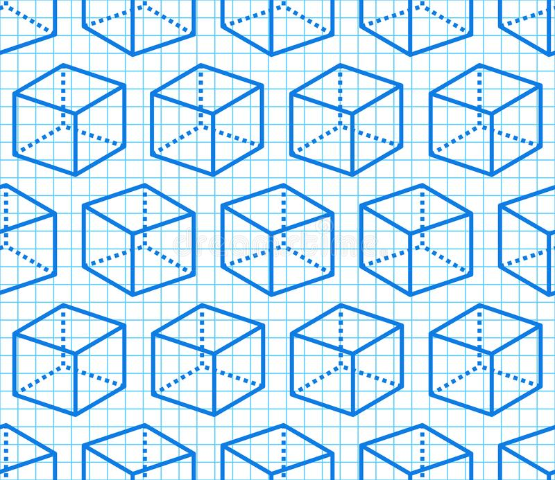 Geometric shapes seamless pattern with flat line icons of cube figure on blue grid notebook. Modern abstract background stock illustration