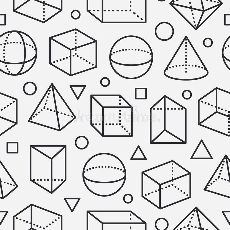 Geometric shapes seamless pattern with flat line icons. Modern abstract background for geometry, math education. Mathematics figures - cube, sphere, cone stock illustration