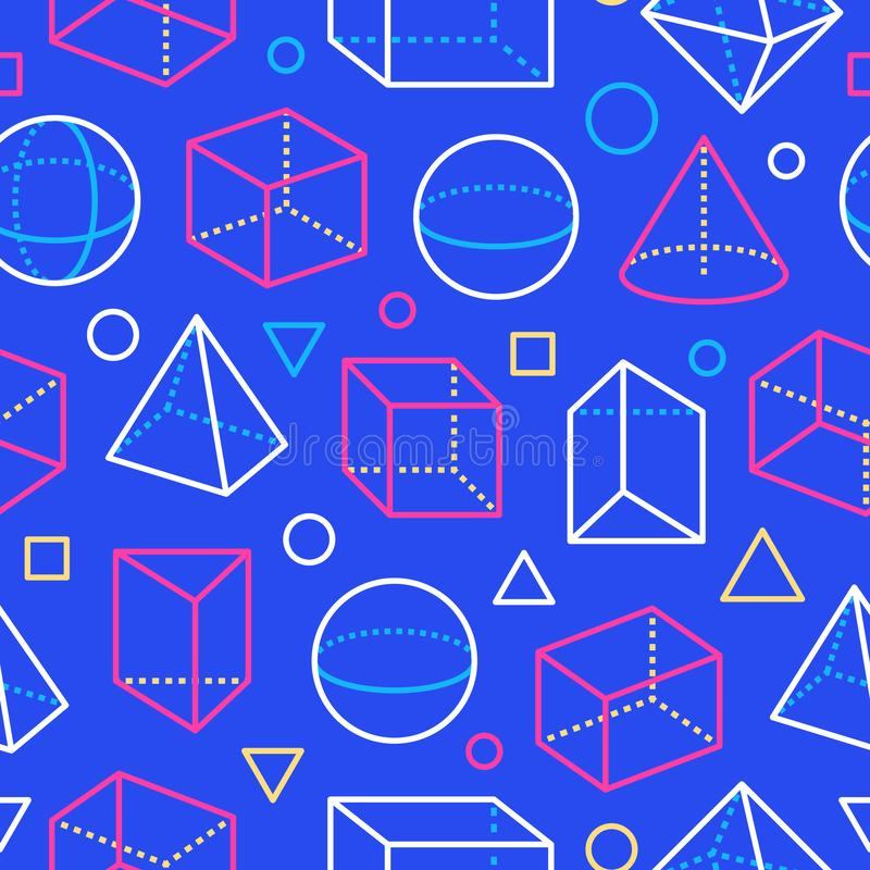 Geometric shapes seamless pattern with flat line icons. Modern abstract background geometry, math education. Mathematics royalty free illustration