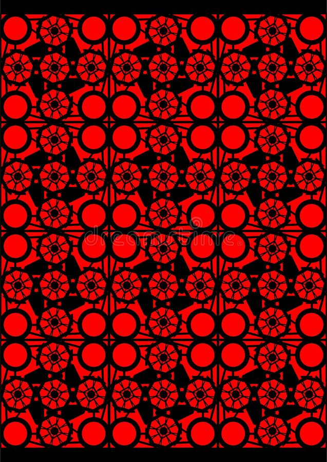 Geometric shapes in a square. Improvisation geometric shapes on a red background stock illustration