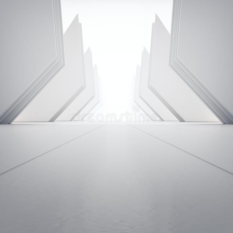 Geometric shapes structure on empty concrete floor with white wall background in hall or modern showroom. stock images