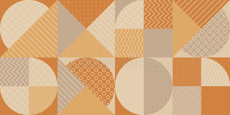 Geometric shapes textures repeatable motif. Tender warm and cold hue vintage vibes seamless pattern. for background, wrap, fabric, textile, wrap, surface, web royalty free illustration