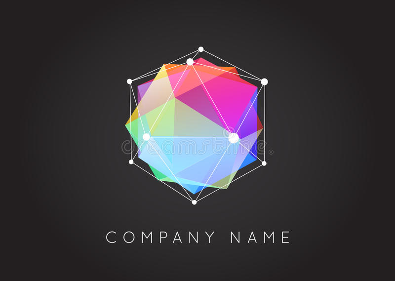 Geometric Shapes Unusual and Abstract Vector Logo. Polygonal Co royalty free illustration