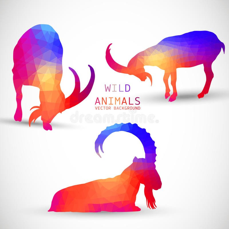 Free Geometric Silhouettes Of Animals, Goat, Ibexes, Stock Image - 43918101