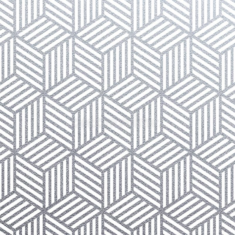 Geometric silver 3D cubes seamless pattern with glitter texture of abstract woven lines on white background. Vector silver glitter royalty free illustration