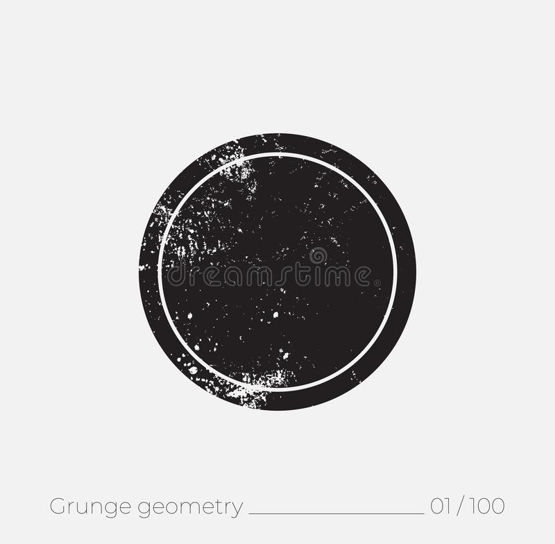 Geometric simple shape in grunge retro style royalty free illustration
