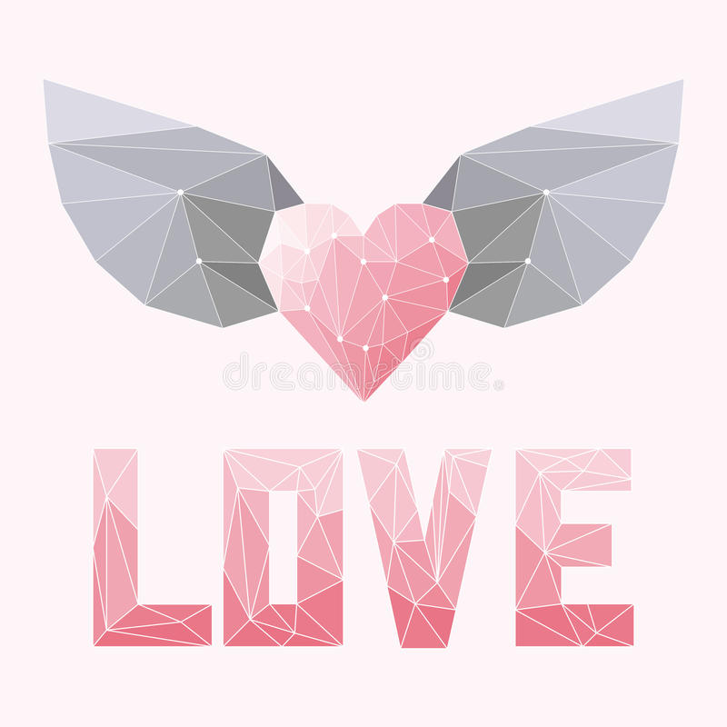 Geometric soft colored abstract polygonal heart with wings and love word isolated on pink cover for valentine day or wedding stock illustration