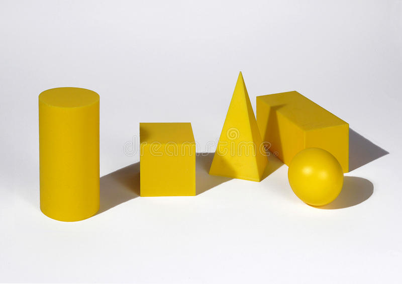 Geometric solid. Some geometric solid,cube,cylinder,parallelepiped stock image