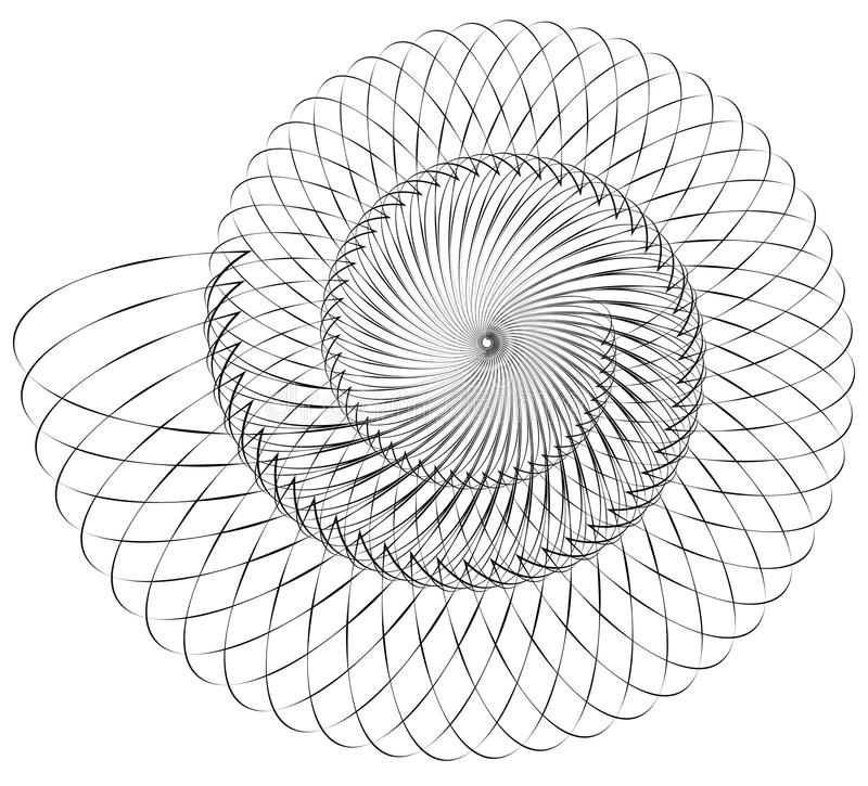 Geometric spiral. Volute, helix elements. Abstract geometric ill. Ustration. - Royalty free vector illustration royalty free illustration