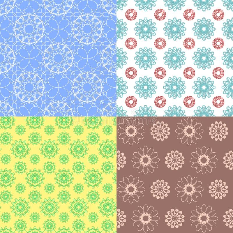 Geometric spirograph seamless patterns. Delicate design backgrounds. Seamless texture with floral elements. ackground royalty free illustration