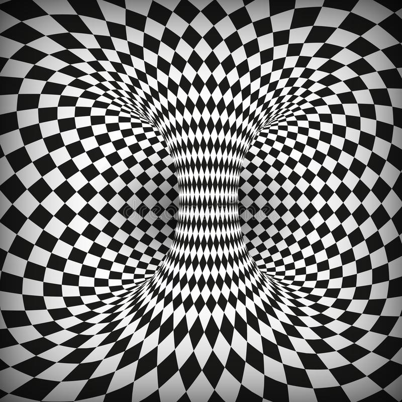 Geometric Square Black and White Optical Illusion. Abstract Wormhole Tunnel. Distort of space and time. Vector illustration vector illustration