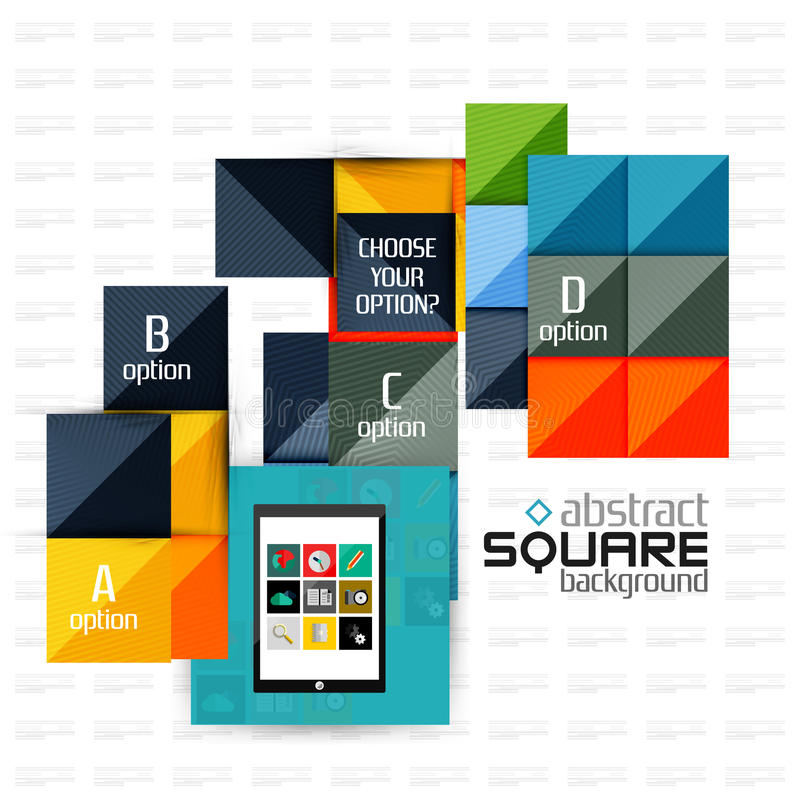 Geometric square shapes and infographic option. Elements with tablet. Vector illustration royalty free illustration