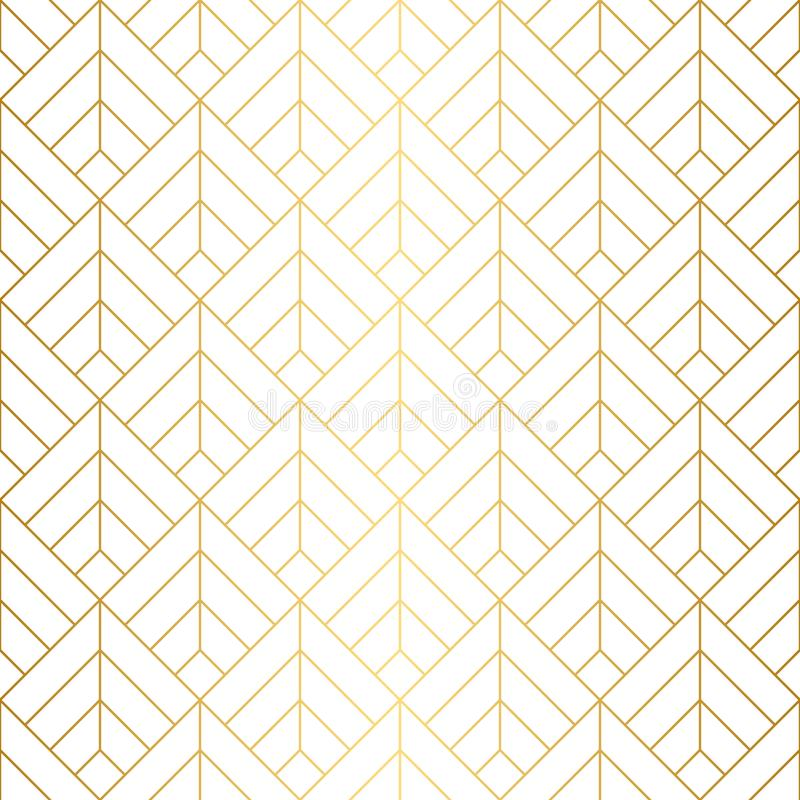 Geometric squares seamless pattern with minimalistic gold lines. royalty free stock photo