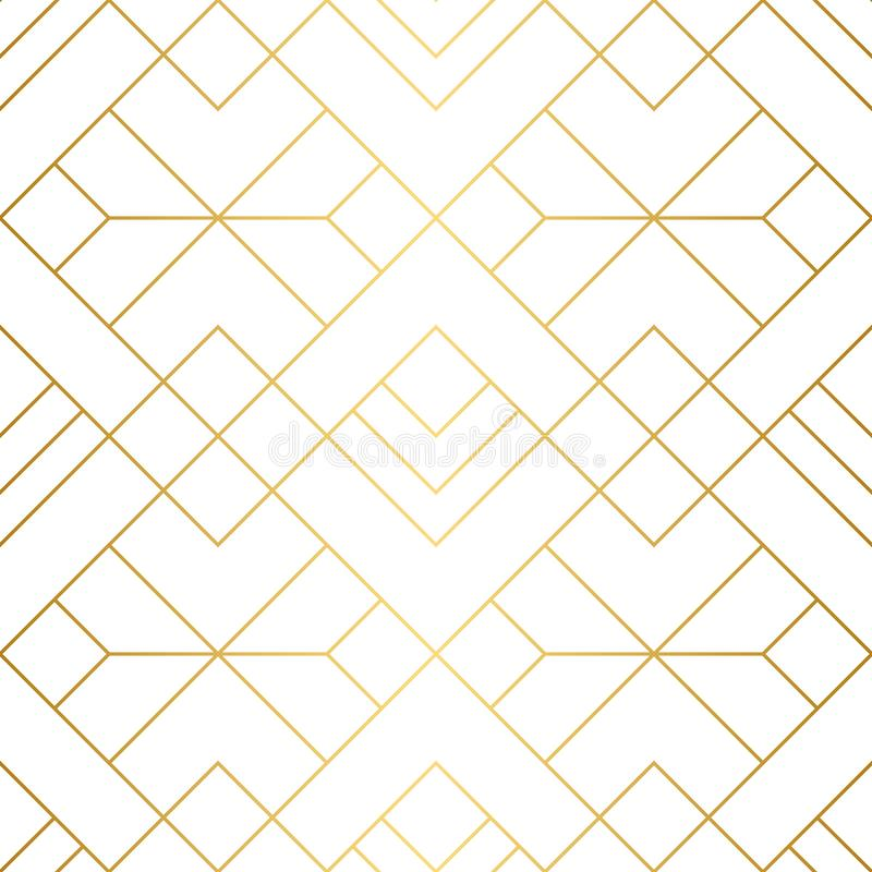 Geometric squares seamless pattern with minimalistic gold lines. royalty free illustration