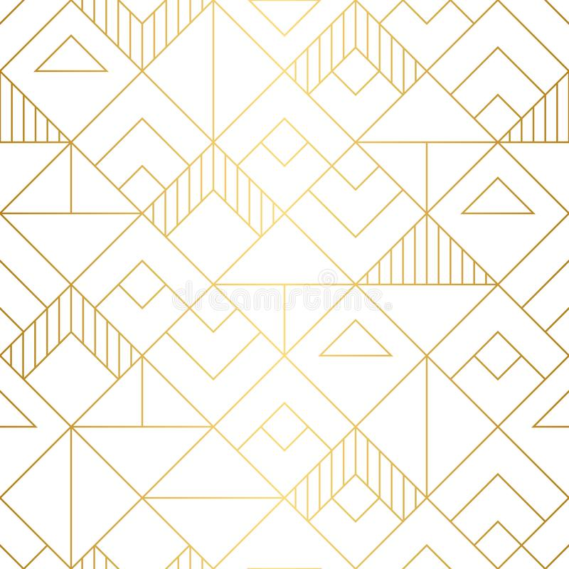 Geometric squares seamless pattern with mnimalistic gold design. Seamless geometric squares pattern in minmalistic modern art deco style royalty free stock image
