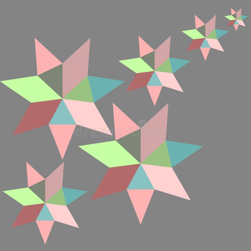 Geometric star vector background pattern abstract colorful art with diamond and triangle shapes grey pink green red beige blue stock illustration
