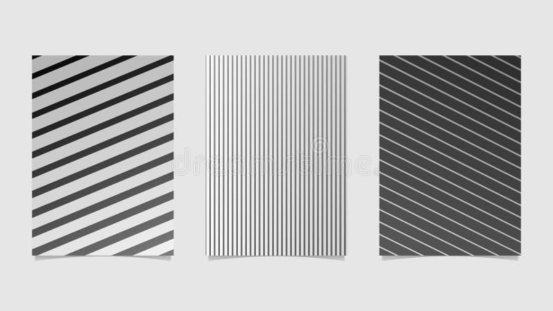 Geometric colorful gradient stripe brochure template design set stock illustration