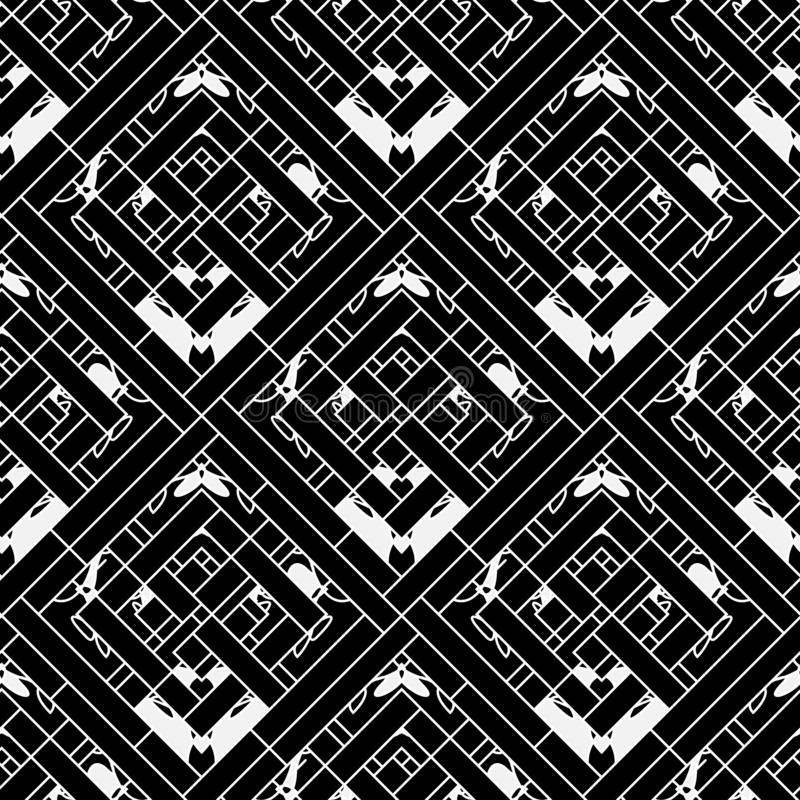 Geometric striped ornamental vector seamless pattern. Ornamental black and white abstract geometrical background. Elegant repeat royalty free illustration