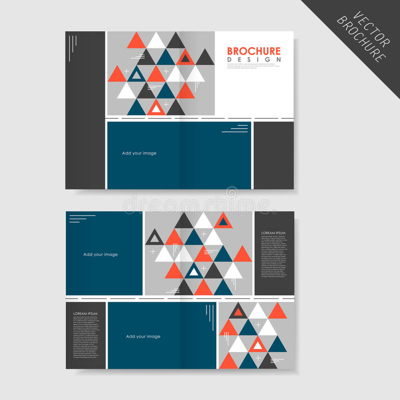 Geometric Style Half-Fold Brochure Template For Business Stock
