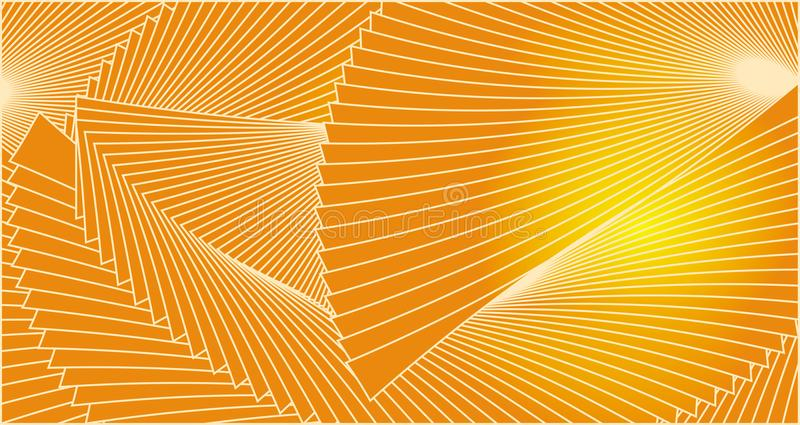 Geometric stylish background of lines on yellow and orange colors. Abstract fantasy texture vector illustration