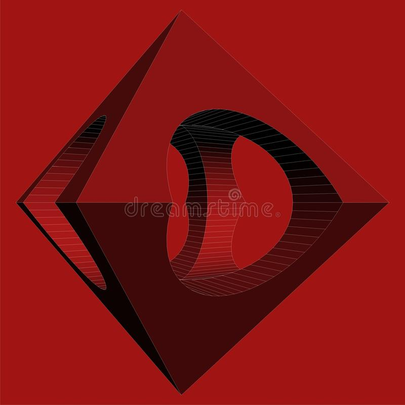 Geometric Subtraction Of Red Octahedron And Two Cylinder Vector. Geometric Subtraction Of Octahedron And Two Cylinder Isolated Vector royalty free illustration