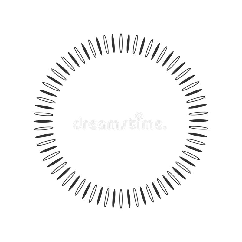 Geometric sun with rays in circle element made of radiating shapes. Abstract circle shape. vector illustration isolated on white royalty free illustration