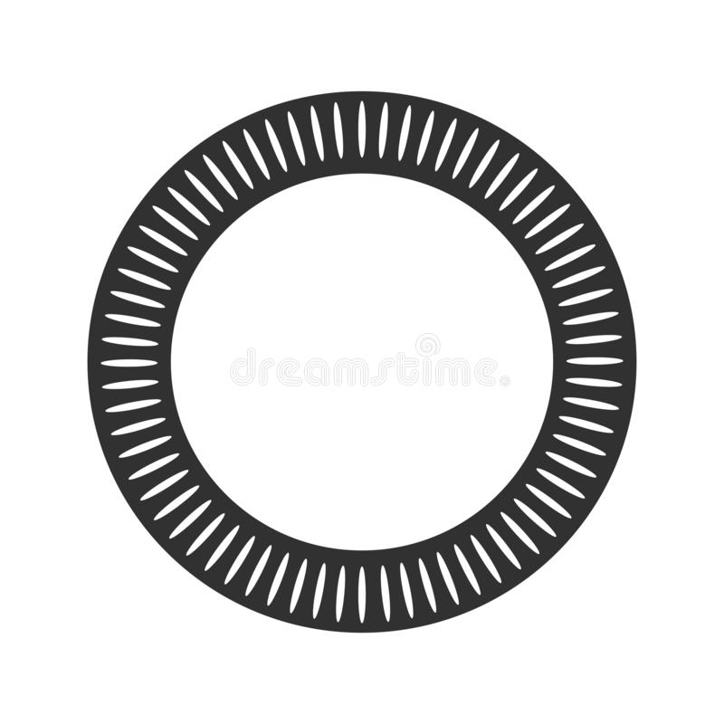 Geometric sun with rays in circle element made of radiating shapes. Abstract circle shape. vector illustration isolated on white stock illustration