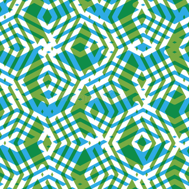 Geometric symmetric lined seamless pattern, colorful vector stock illustration