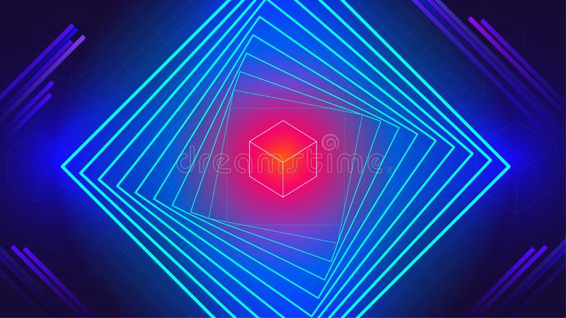 Geometric tech electronic dance music elements abstract background royalty free illustration
